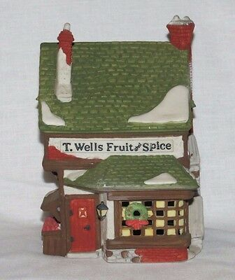 Dept 56 Heritage Dickens Village Series T WELLS FRUIT AND SPICE SHOP  # 5924-2
