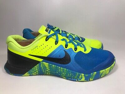 4bf15ba70946 NIKE MENS Sz 11 METCON 2 AMP TRAINING SHOES VOLT ROYAL BLUE BLACK 819902