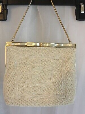 MINT Vintage Ivory White Beaded & Mother Of Pearl La Regale Evening Bag Purse