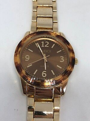 Working Ladies Gold and Faux Tortoise Shell Unbranded Watch CR