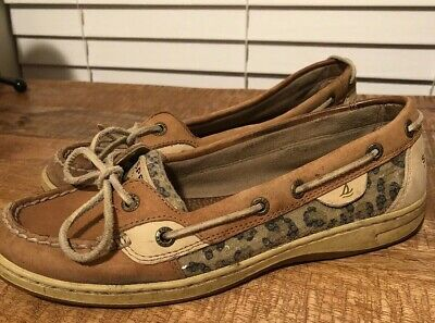 b2966b2d8cf Sperry Top Sider Womens Beige Leather Flat Boat Shoes Loafer Slip On Size  8.5M