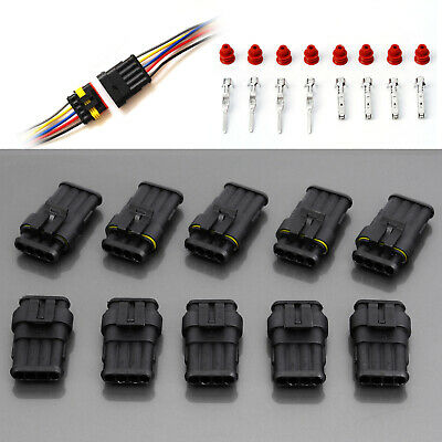 10PCS 4 Pin Waterproof Electrical Connector Plug Socket Male and Female Terminal