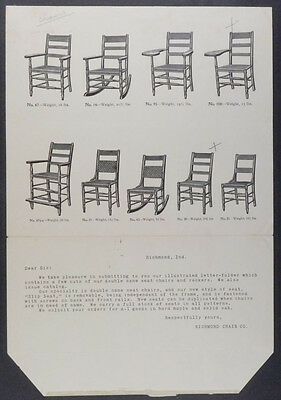 Richmond Indiana Chair Company 1908 Maple & Oak Chairs Illustrated Poster