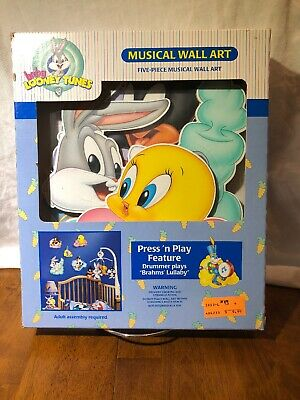 Vintage 1999 Baby Looney Tunes 5pc Musical Wall Art *Brand New/Sealed*