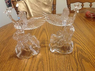 Pair of plastic Carved Angels, like ice sculptures, Party, Wedding, Christmas