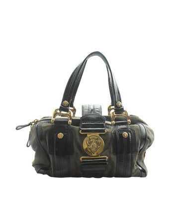 321353faec9a0a Gucci 186235 Aviatrix Boston Medium Black & Grey Leather & Suede Satchel