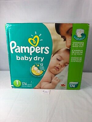 Pampers Baby Dry Diapers Giant Pack (Size 1) 8-14 Lbs. 4-6 Kg. 174 ct New !