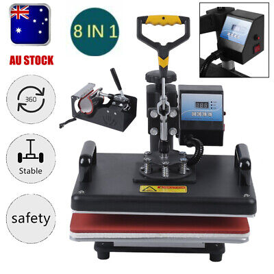 Upgraded 8 in 1 T-Shirt Mug Hat Plate DIY Heat Press Machine Digital Transfer AU