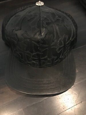 55c3cd3a627 AUTHENTIC  CHROME HEARTS  Black Mesh Leather Cross Patch Hat ...