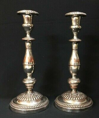 C.1890'S Heavy Silver Plated Pair Candlesticks Copper Bleeding C. Balaine Paris.