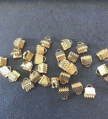 7 mm Gold Cord Ribbon End Necklace Clamps Clasp finding DIY Jewellery 30 Pack