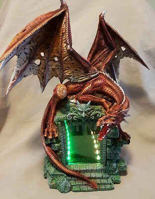 DRAGON WITH TIME TUNNEL Mythical Creature Home Garden Statue Ornament