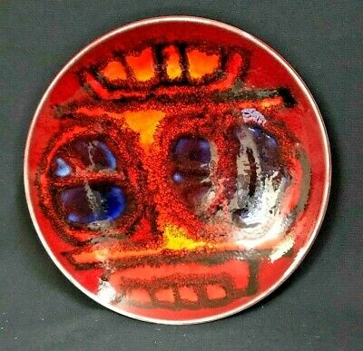 C.1960'S Stunning English Poole Pottery Bowl Copper Enamelled Look Vg Condition.