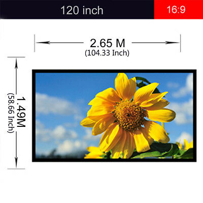 """120"""" Inch 16:9 Projector Screen Projection Manual Pull Down Home Theater Cinema"""