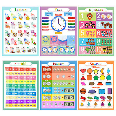 6Pcs Animal ABC Alphabet Time Learn Children Educational Paper Poster ,In USA