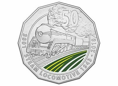 "2018 ""3801""  Coloured  Unc 50c Coin Evoking the romance of train travel on card."