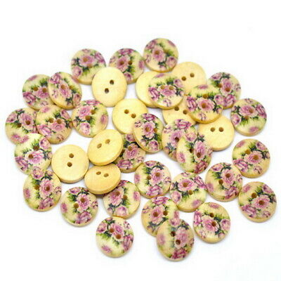 2 Hole Flower Painting Wood Sewing Buttons 15mm 50PCs