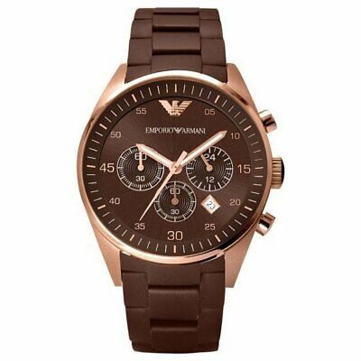 New Genuine Emporio Armani Ar5890 Brown Dial Stainless Steel Uk