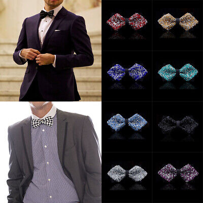 c08083d54db0 Sequin Shiny Bow Tie Show Sparkly Fancy Dress Magic Mens Boys Necktie Party  Prom