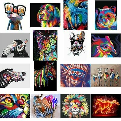 AU Paint By Number Kit DIY Oil Painting Canvas Colorful Animal Home Wall Decors