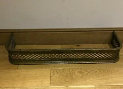 Vintage Pierced Brass Fire Fender With Spark Guard Fire Kerb, Country House