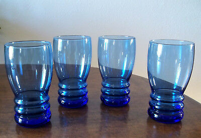 4 LIBBEY BANGLES Mediterranean Cobalt Blue 16 Oz Coolers Tumblers FREE SHIPPING