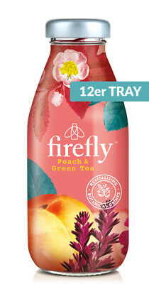 firefly natural drinks - red: Peach & Green Tea 0,33l Glas (12er Tray)