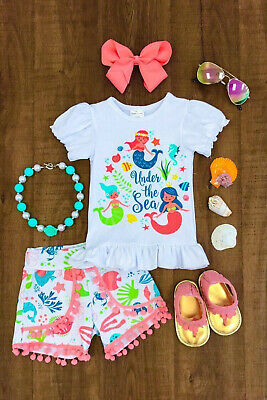 Toddler Kids Baby Girl Mermaid Top T-shirt Pants Clothes Outfits Summer US Stock