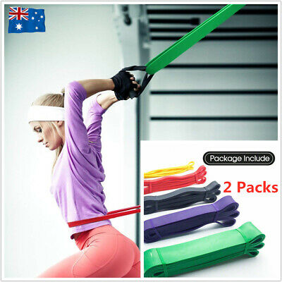 10x Strength Band Power Resistance Loop Chin Up Pull Up Training Exercise Gym AU
