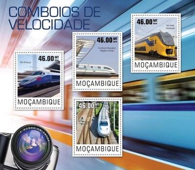 Mozambique 2014 Sheet Mnh Speed Trains Trenes De Alta Velocidad Tgv 5
