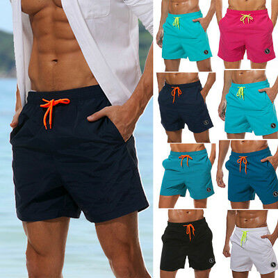 Mens Swimming Board Shorts Quick Dry Solid Trunks Swimwear Summer Beach Pants