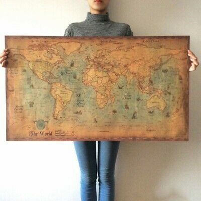 Poster Pictures Retro Old Vintage World Map Kraft Wall Sticker Nautical Ocean