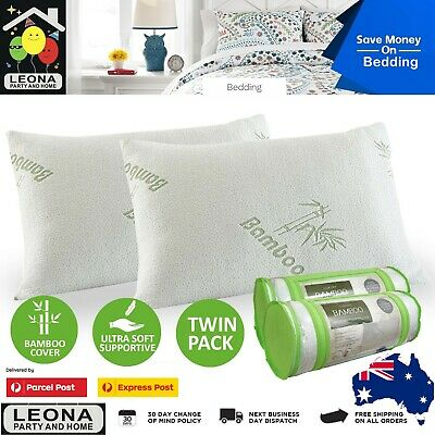 Luxury Bamboo Covered Memory Foam Pillow Royal Comfort Twin Pack Hypoallergenic