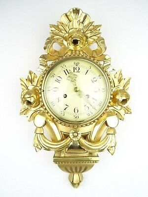 Swedish JMP Vintage Antique Wall Clock Mid Century Gilt (Westerstrand era)
