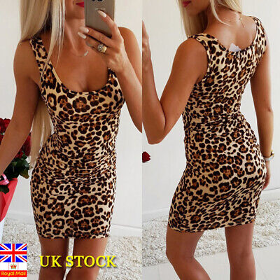 Women Leopard Print Low Cut Bodycon Dress Ladies Summer Party Short Mini Dresses