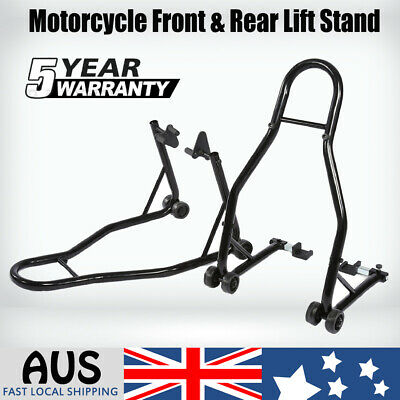 Heavy Duty Motorcycle Motorbike Front & Rear Lift Stand Set Steel Stand Kit HOT
