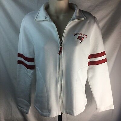 Tampa Bay Buccaneers Jacket NFL Team Apparel Women s White Red Stripes Small 2e42c7f91