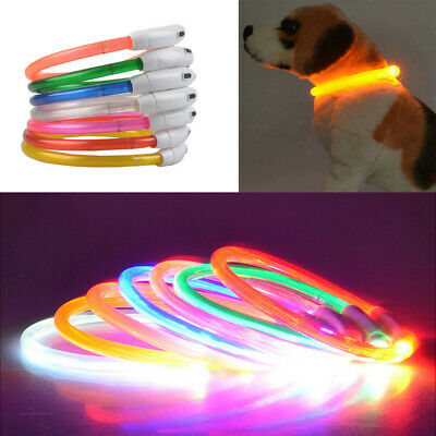 USB Chargé LED Éclatant Chien de Compagnie Collier Chat Cuttable Multicolore