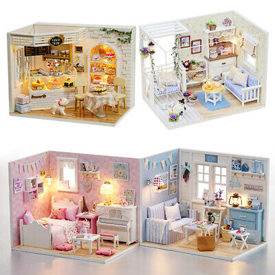 Furniture House Doll Miniature Diy Wooden Dollhouse Kit Toy Toys 3d Gift Kids