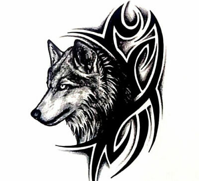 Wolf Temporary Tattoo, Arm, Bicep, Sleeve Tattoo, Men, Women Tribal Tattoo
