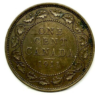 1911 CANADA  LARGE ONE CENT BRONZE COIN~ King George V. KM#15
