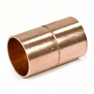 """( 2 Pack ) 1/2"""" inch Copper Solder Sweat Coupling with Stop CxC"""