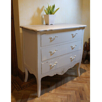 Shabby Chic Devon Chest of 3 Drawers -  French Style Vintage Distressed Cream