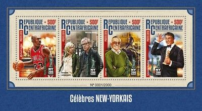 Central Africa 2016 Sheet Mnh New York Celebrities Jordan Stallone Cinema 2