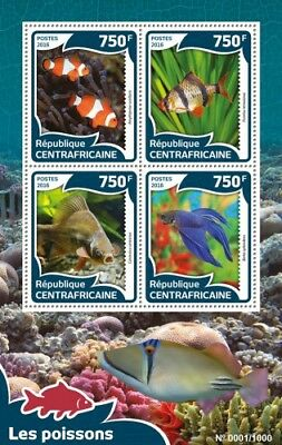 Central Africa 2016 Sheet Mnh Fishes Poissons Peixes Fischen Peces Marine Life