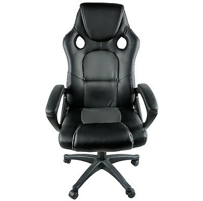 New Luxury Black & Grey Leather Racing Seat Office Gaming Swivel Gas Lift Chair