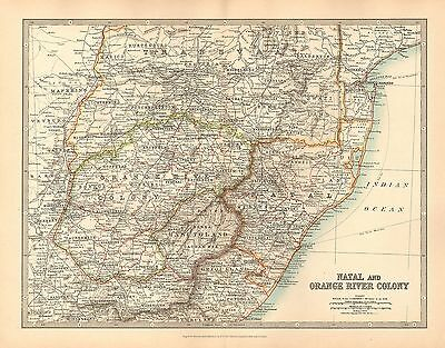 1911 Large Victorian Map ~ Africa Natal & Orange River Colony Transvaal