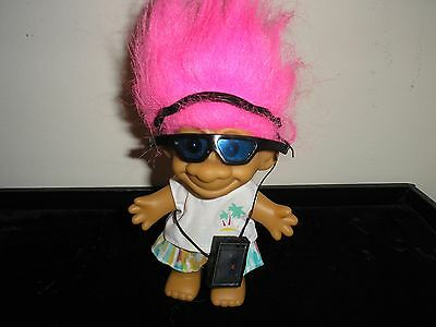 Russ Troll Doll # 18366 Walkman Sunglasses and Blue Hair In Original Package