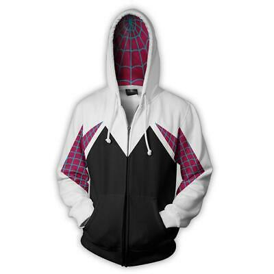 Spider-Man Gwen Sweater Hoodie The Amazing Coat CosPlay Costume Jacket Shirt Top