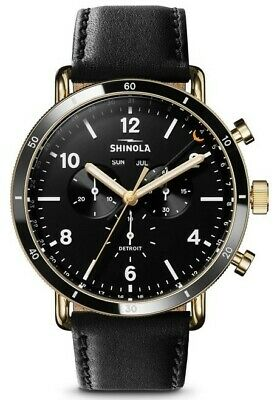 b1f7a5825 Shinola 45mm Canfield Sport Chronograph Black Face/Black Leather Band BRAND  NEW!